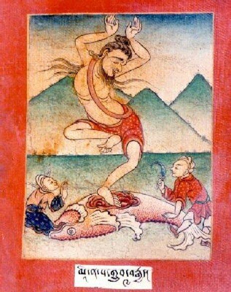 Matsyendranath, il leggendario fondatore dell'Hatha Yoga, considerato un santo nella tradizione Buddhista e Induista, che emerge dal pesce nel cui ventre, secondo una delle tante versioni, passò numerosi anni apprendendo da Shiva in persona i segreti dello Yoga.